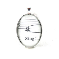 Music Note Pendant with Sing from Vintage Music Sheet, in Glass Tile Oval