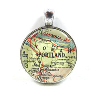 Vintage Map Pendant of Portland, Oregon, in Glass Tile Circle