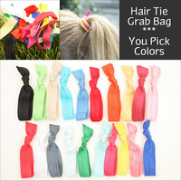 Yoga Hair Tie Grab Bag (20) No Crease Knotted Elastic Hair Ties, Bracelet - Emi Jay Like Fabric Hair Bands, Hair Accessories - Perfect Gift