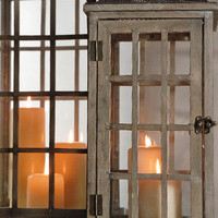 "Set of Two Large (30"" & 21"") Wood & Glass Belleville Lanterns $160 (set of two)"