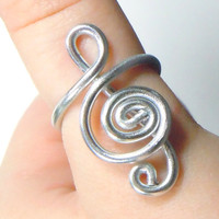 Treble Clef Adjustable Aluminum Ring by melissawoods on Etsy