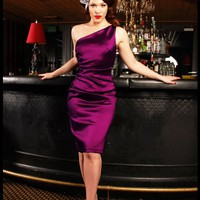 The Vivien Dress in Dark Fuchsia Stretch Taffeta from Pinup Couture | Pinup Girl Clothing