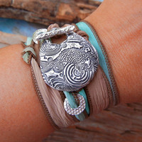 STERLING SILVER Jewelry, Silk Wrap Bracelet, Yoga Jewelry, Summer Jewelry Fish Wrap Bracelet, Sterling Silver Cool Jewelry