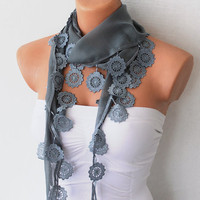 Grey Cotton Scarf with Lace by fairstore on Etsy