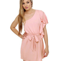 Cute Pink Dress - One Shoulder Dress - Ruffle Dress - $32.00