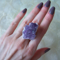 Raw Amethyst Druzy Quartz Cluster Ring 