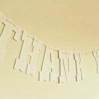 Photo prop banner Thank You in white wedding by KittyDuneCuts