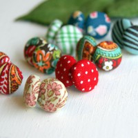 Design Your Own Fabric Stud Earrings - Set Of Three | Luulla