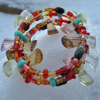 Happy Arm Candy, Oval Coil Beaded Bracelet, Handmade | Luulla