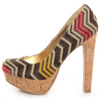 Bamboo Conroy 04 Natural Multi Woven Zig Zag Platform Pumps - $41.00