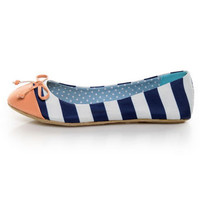 Dollhouse Koni Navy Blue & White Striped Ballet Flats - $25.00