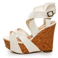 Soda Effect Off White Strapped-In Mega Platform Wedges - $29.00