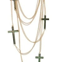 long multi chain necklace with crosses - debshops.com