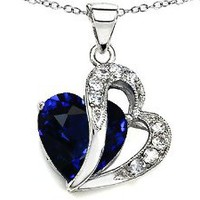 Amazon.com: Original Star K(tm) Large 12mm Created Blue Sapphire Double Heart Pendant in Sterling Silver with Chain: Star K: Jewelry