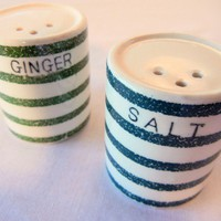 Green Striped Shakers Mismatched Novelty Set of Ginger and Salt
