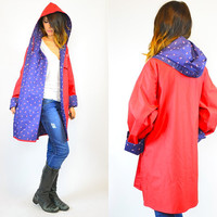 preppy chic HOODED cherry LADYBUG novelty rain JACKET coat, medium-large