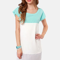 Flying Tri-Colors Sky Blue Color Block Dress