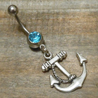 Belly button ring - Anchor with Rope and light blue gem belly button ring