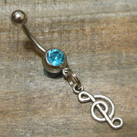 Belly button ring - Music Note and Light Blue Gem Belly Button Ring
