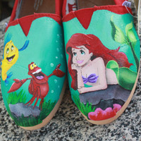 Little Mermaid Original Custom Acrylic Painting for Toms Shoes