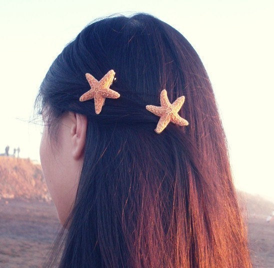 Mermaid Hair - Cute and Adorable Starfish Barrettes by dreamsbythesea