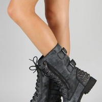 Amazon.com: Harley 12 Womens Military Lace up Studded Combat Boot Black: Shoes