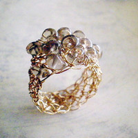 Gold Filled Crochet Ring With Smoky Quartz | Luulla