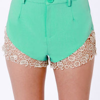 Lacy Legs Mint Green Lace Shorts