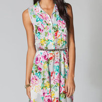 L8TER Floral Print Womens Hi Low Shirt Dress 216304115 | Dresses | Tillys.com