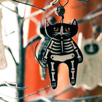 Skeleton Cat Halloween Clay Folk Art Ornament