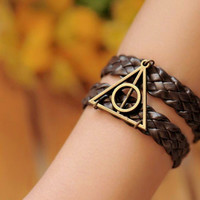 Harry potter bracelet,retro bronze Deathly Hallows,brown braid leather bracelet--B001