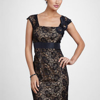 ideeli | KM COLLECTIONS Lace Overlay Sheath Dress