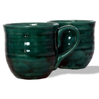Large Handmade Emerald Green Ceramic Mugs - Set of 2