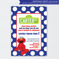 Boy Colors - Elmo Birthday Party invitation - in Blue - or Choose your own color scheme