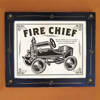 Fireman Art Print Old Toy Truck Black and White Framed by DexMex
