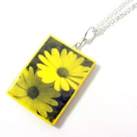 Yellow Flower Necklace Large Photo Pendant by PhotoPerfectJewelry