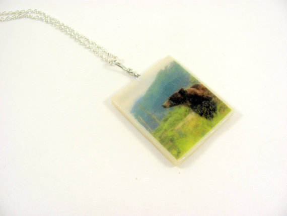 Bear Photo Necklace Wildlife Pendant by PhotoPerfectJewelry