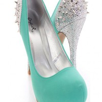 Seagreen Silver Spike Studded Smooth Faux Suede Pump Heels