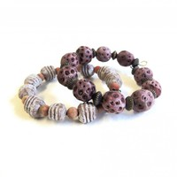 Pink and brown beaded bracelet with rustic clay beads and wood set of 2