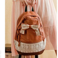 Fashion blown Backpack with Red Floral Bow Lace