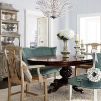 Marie Dining Table, Brumley Banquette, & Country Armchairs