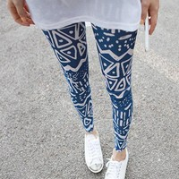 Zigzag Pattern Skinny Leggings Blue
