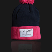 Plug and String Clothing — STAY CLASSY BEANIE | pink and french navy