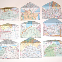 Mini Map Envelopes Lot of 18 Vintage Atlas by scrapitsideways