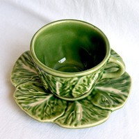 Vintage Bordallo Pinheiro Cabbage Demitasse Cup and Saucer