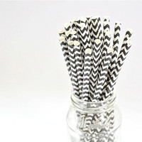 Paper Straw Chevron - Black x 25