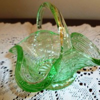 Vintage Light Green Small Glass Basket