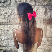 BIG Glowing pink bow -  hair bow