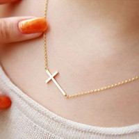 Fashion Golden Cross Chain Necklace