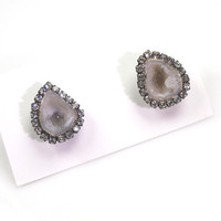 Tabasco Geode Earrings Geode Stud Ivory Slice Earrings Diamond Look Bezel Stud Earrings Oxidized Silver - Oona